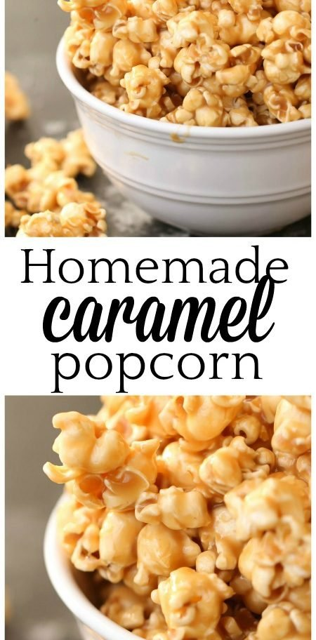 finished picture of the gooey homemade caramel popcorn in a serving bowl