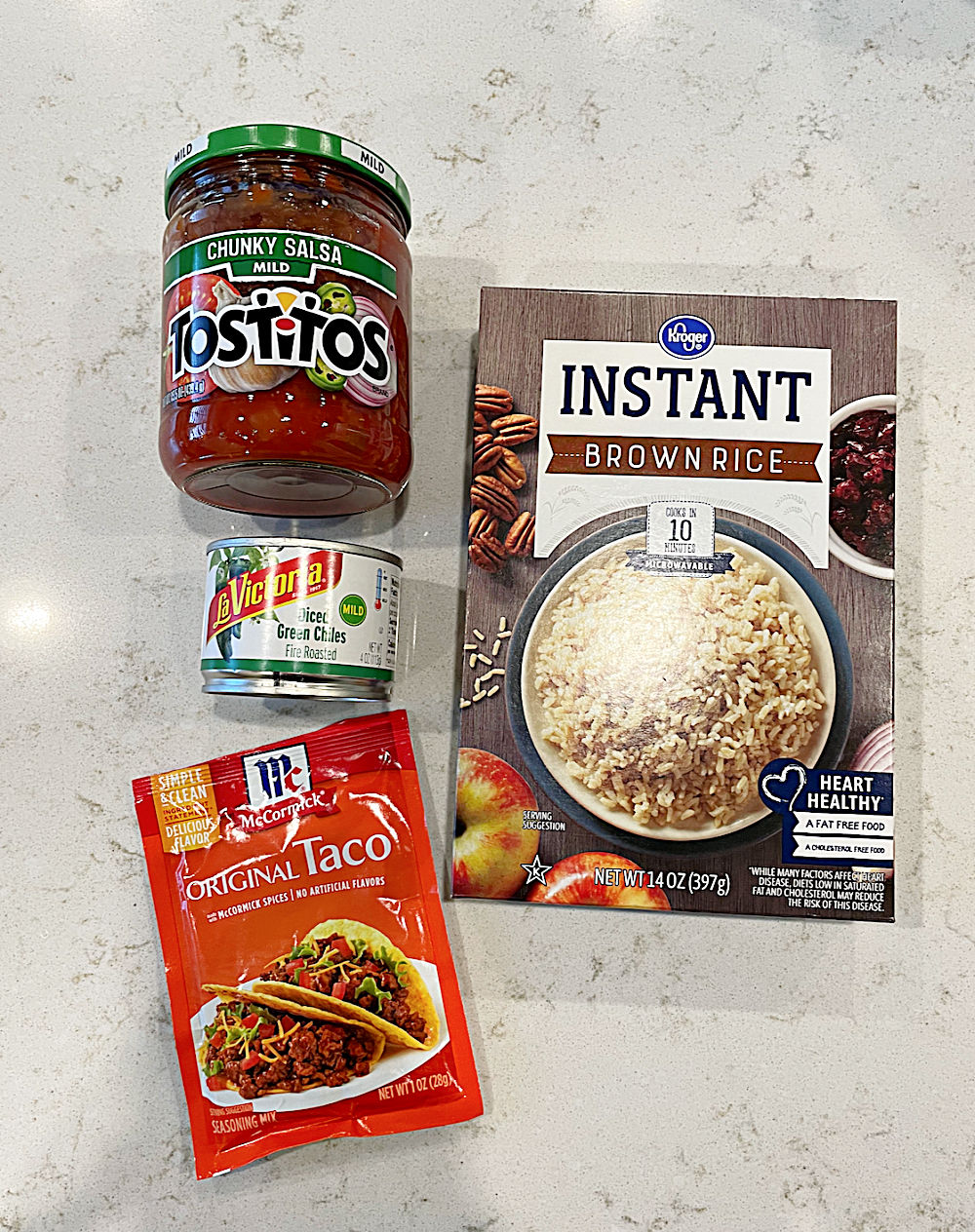Ingredients to make Easy Mexican Salsa Rice Recipe (Quick Spanish Rice)