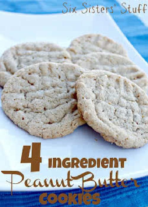 4 Ingredient Peanut Butter Cookies Recipe