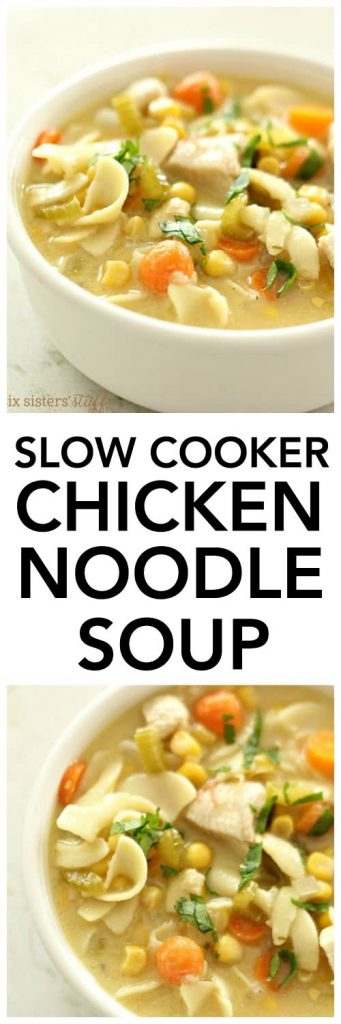 Slow Cooker Chicken Noodle Soup - SixSistersStuff