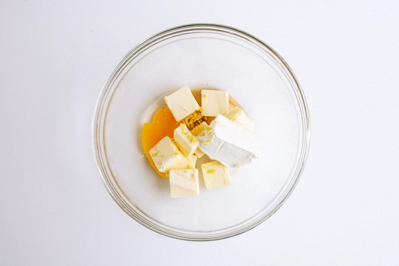 butter, cream cheese, zest, egg, salt, vanilla