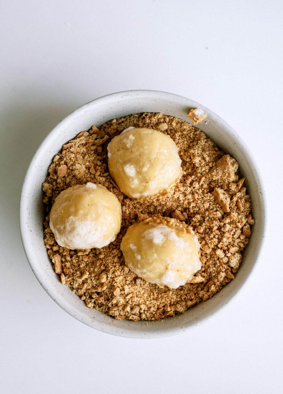 cheesecake cookie dough rolled in graham cracker crumbs