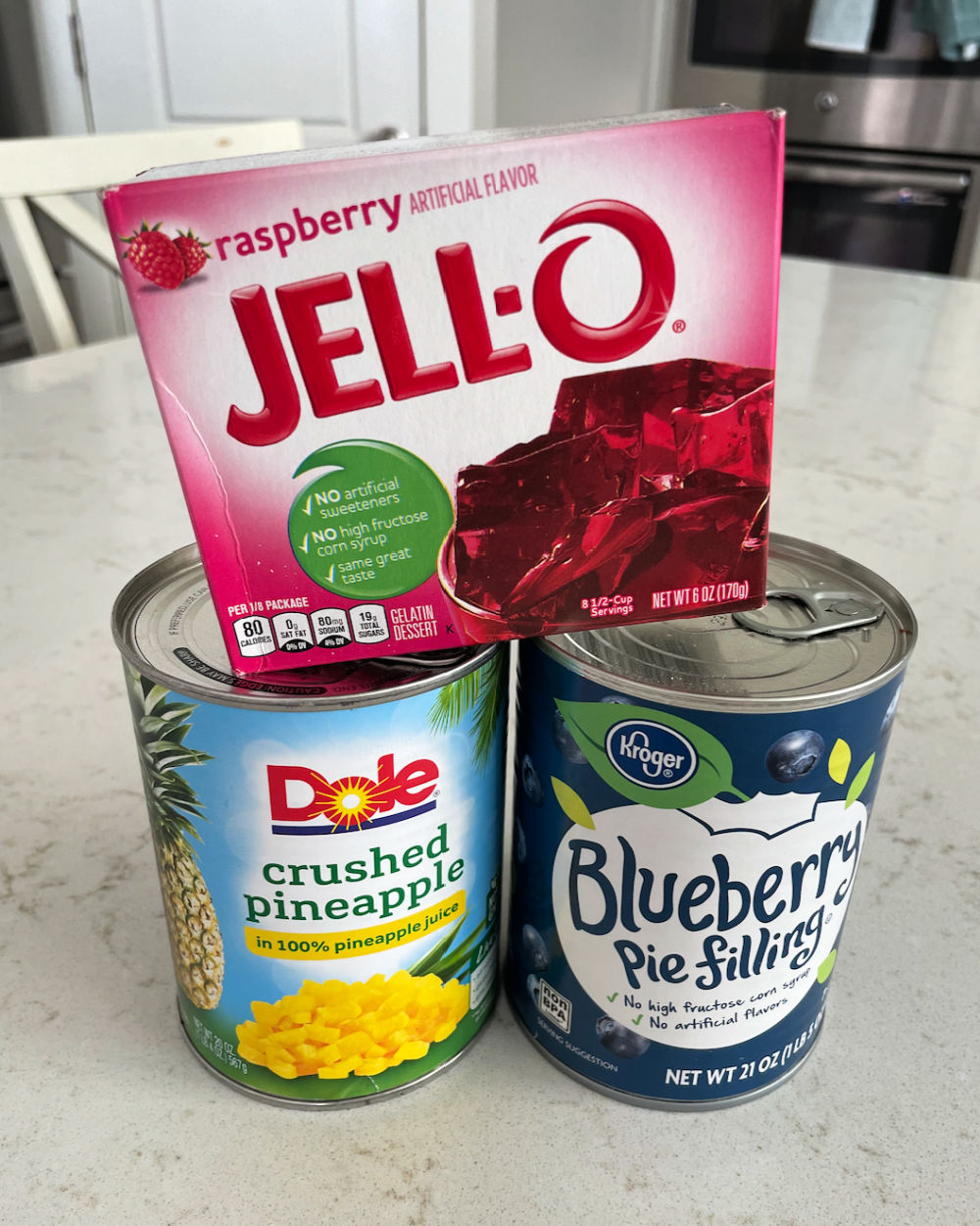 Ingredients for Berries and Cream Jello Salad