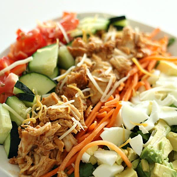 Slow Cooker BBQ Chicken Cobb Salad - SixSistersStuff