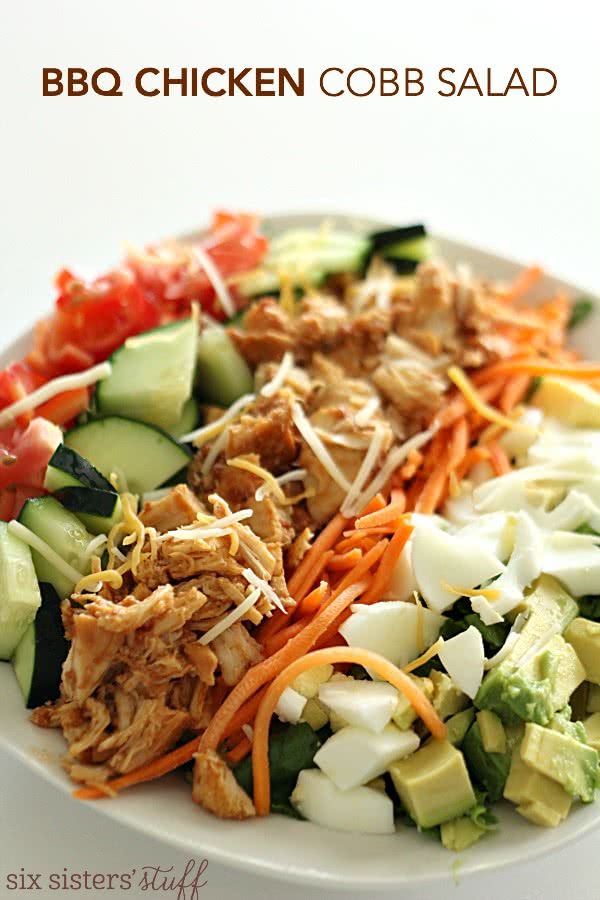 Slow Cooker BBQ Chicken Cobb Salad from SixSistersStuff