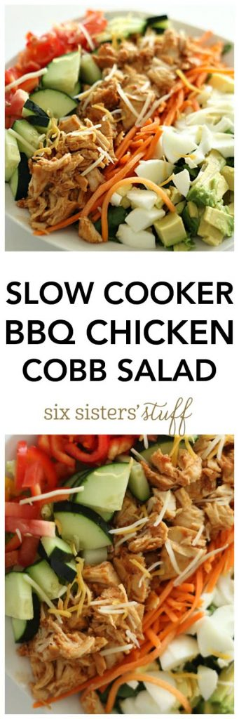Slow Cooker BBQ Chicken Cobb Salad on SixSistersStuff