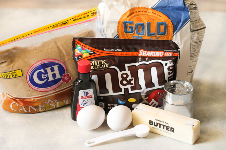 Ingredients for Thick and Chewy M&M Blondies