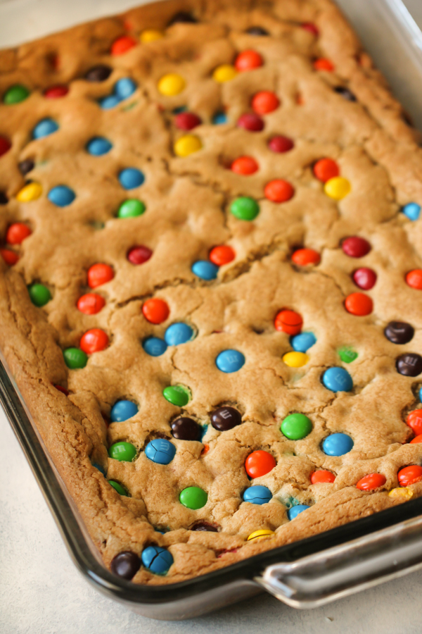 Baked Thick and Chewy M&M Blondies