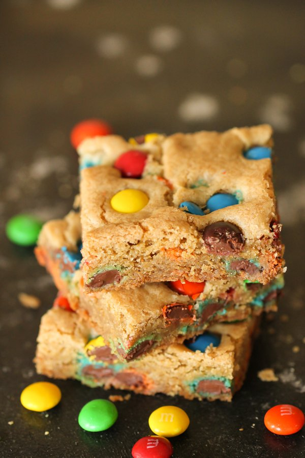 Thick and Chewy M&M Blondies Recipe