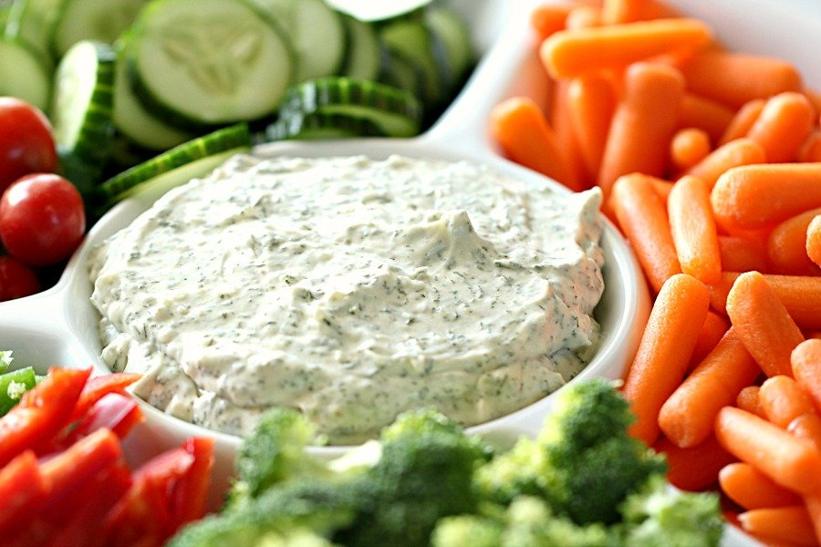 Vegetable Dill Dip on a platter with veggies
