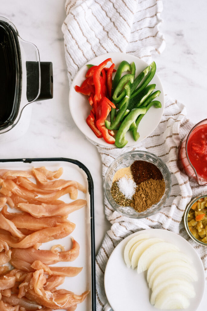 Ingredients for Slow Cooker Fajitas