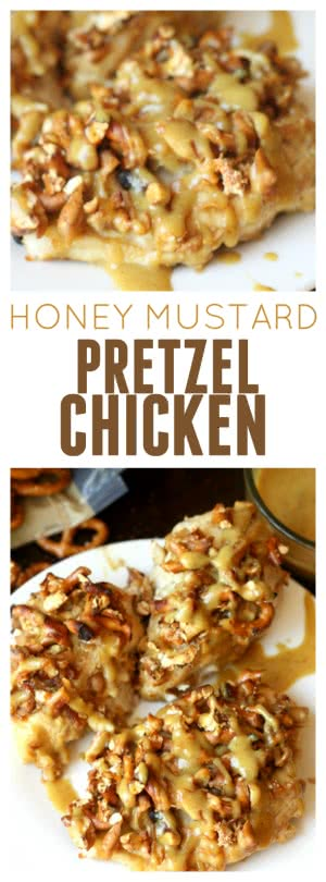 Honey Mustard Pretzel Chicken from Six Sisters' Stuff pin