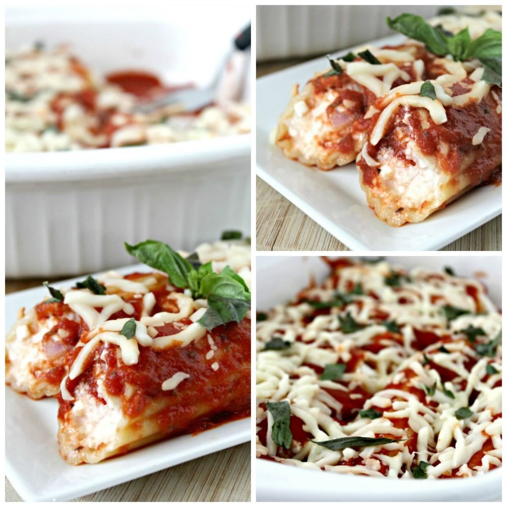 Manicotti stuffed with chicken parmesan