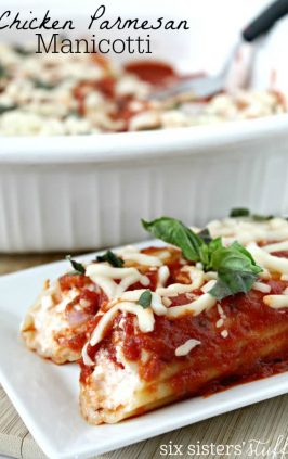 manicotti stuffed with chicken parmesan and cheese