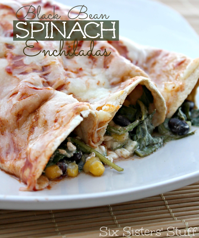 Healthy Black Bean Spinach Enchiladas