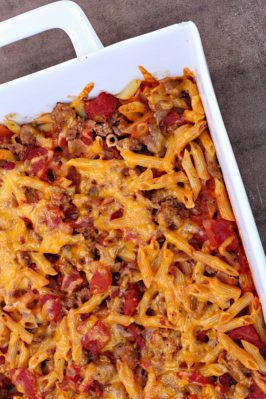 ground beef casserole made to taste like a cheeseburger