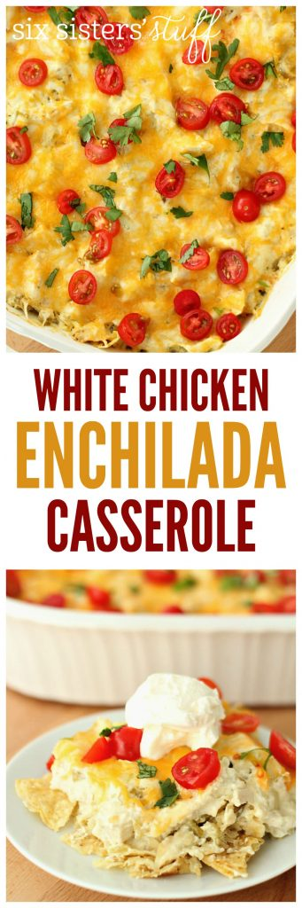 White Chicken Enchilada Casserole on SixSistersStuff