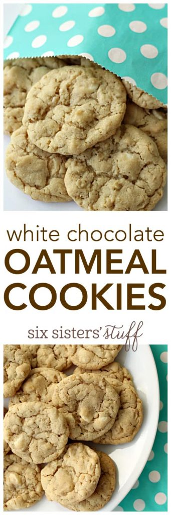 White Chocolate Oatmeal Cookies from SixSistersStuff