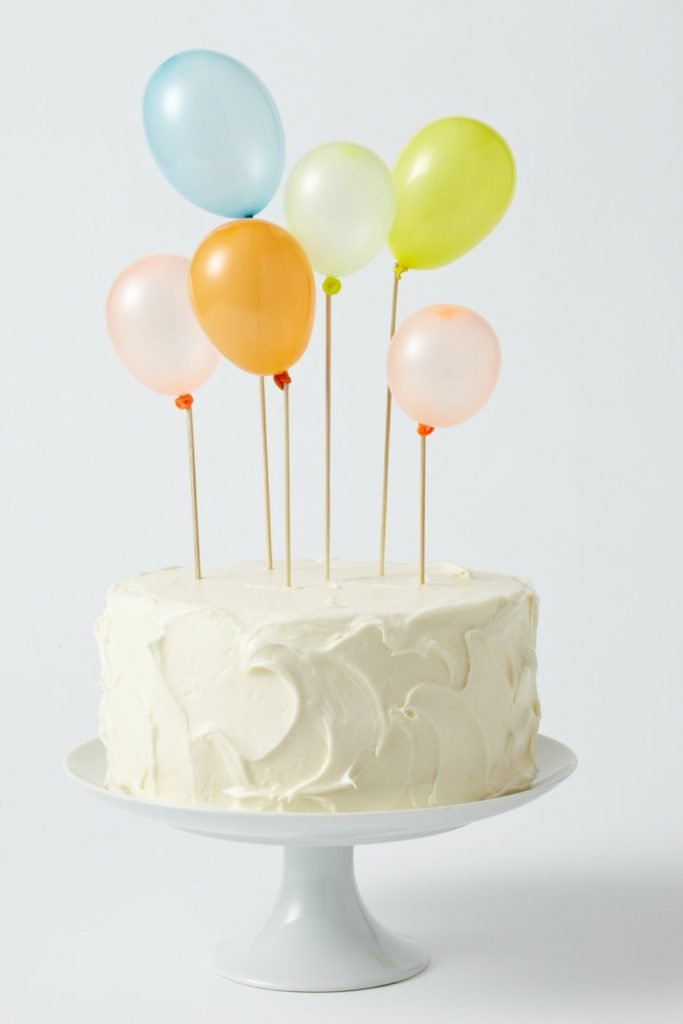 This Idea Could Not Be More Simple Just Frost A Cake With Whatever Color You Want And Then Use Wooden Dowels Or Sticks Small Balloons Attached To