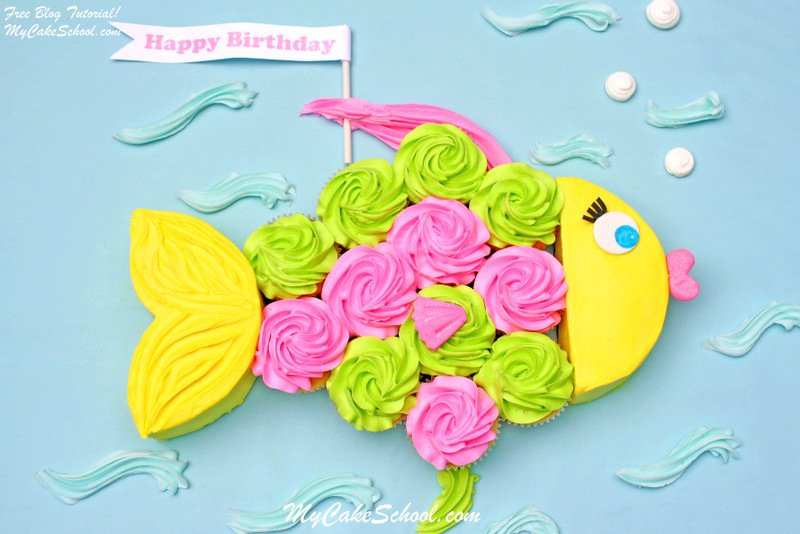 I Love That The Body Of This Colorful Fish Cake Is Made Cupcakes Its So Bright And