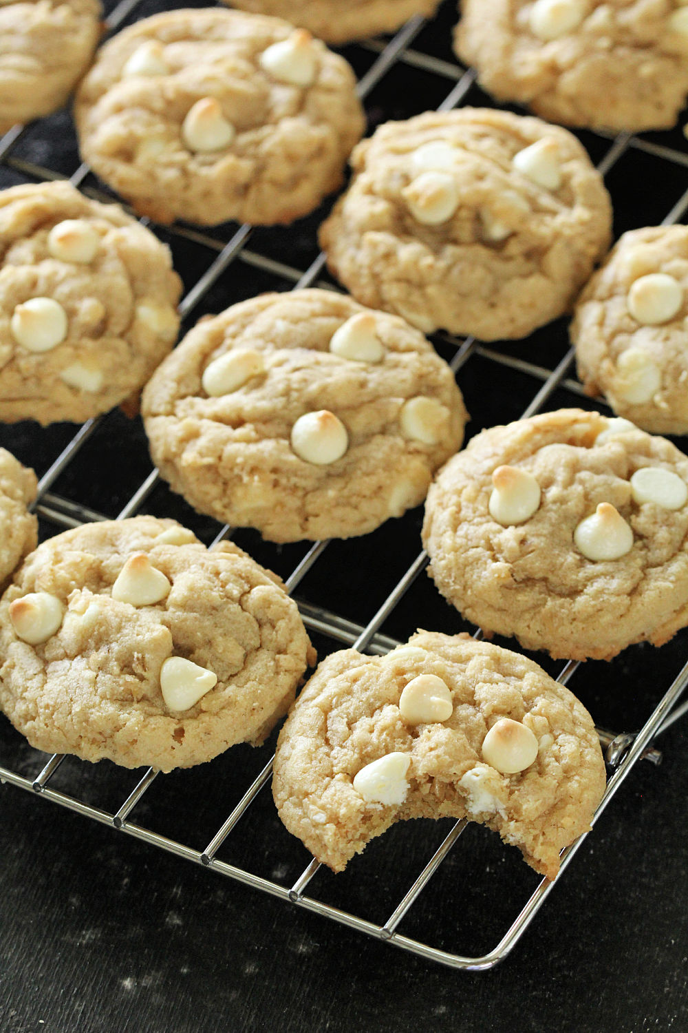 White Chocolate Chip Oatmeal Cookies on a cooling rack