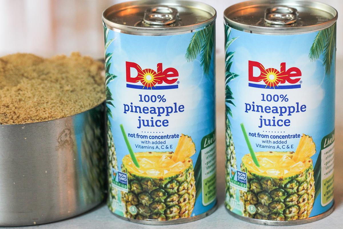 Pineapple juice and sugar