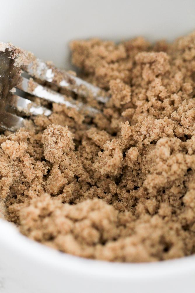 Fork mixing crumb mixture