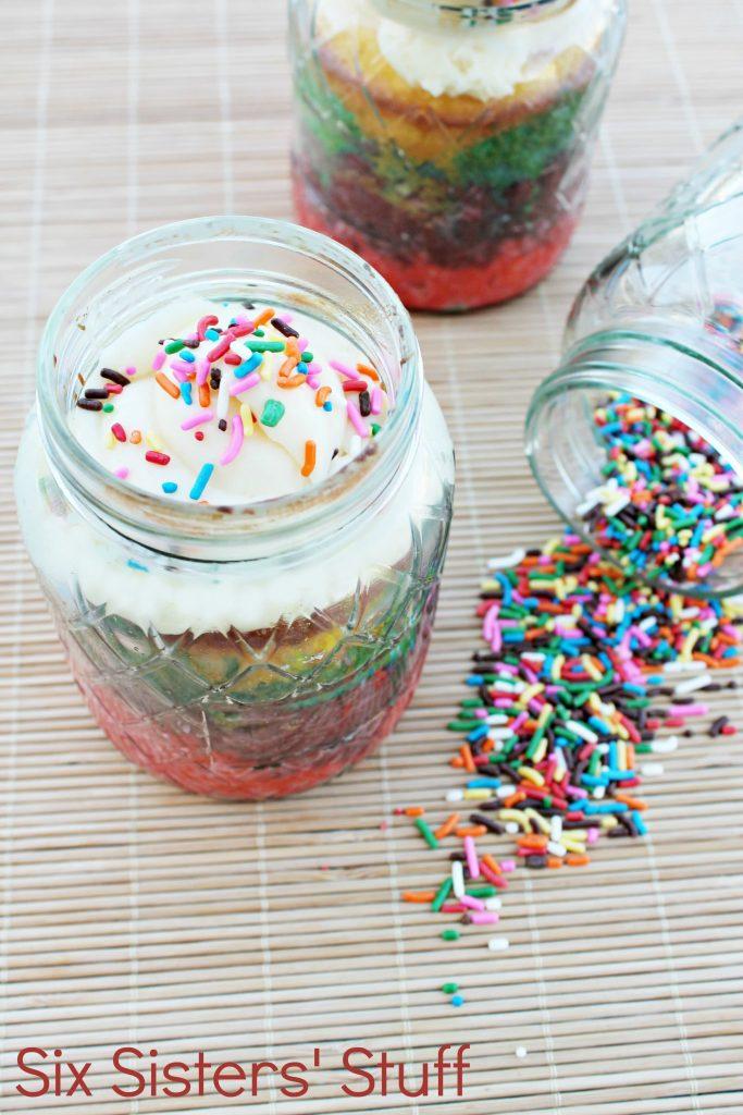 Rainbow Cake in a Jar Six Sisters Stuff