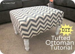 DIY Tufted Ottoman Fabric Recover Tutorial