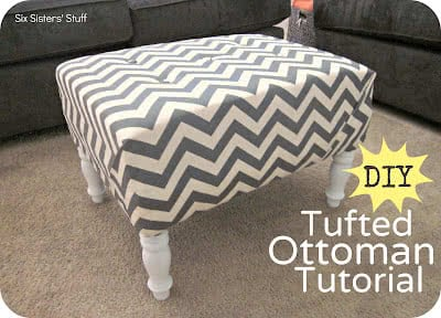 Awe Inspiring Diy Tufted Ottoman Fabric Recover Tutorial Six Sisters Stuff Gmtry Best Dining Table And Chair Ideas Images Gmtryco
