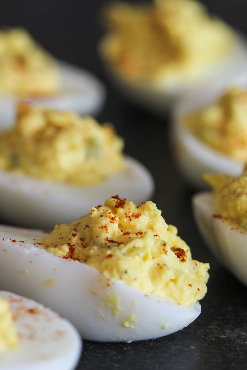 deviled egg up close with paprika on top