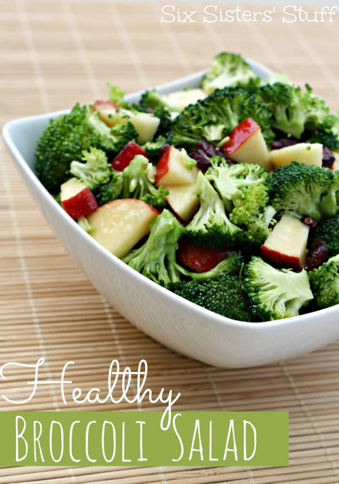 healthy broccoli salad without mayo served in white bowl