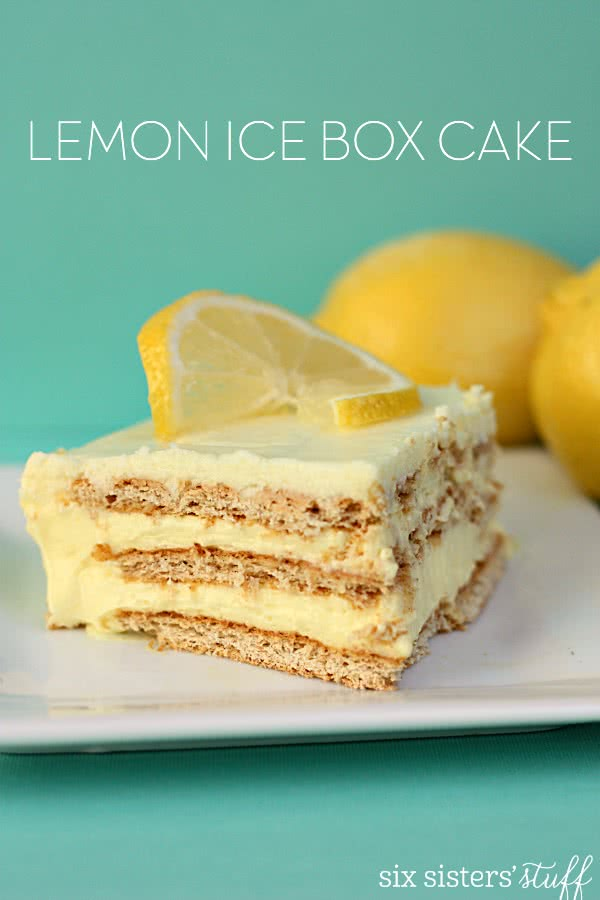 No Bake Lemon Ice Box Cake on SixSistersStuff