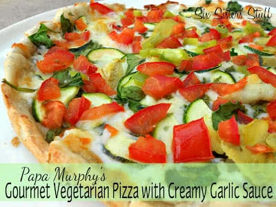 Papa Murphy's Copy-Cat Gourmet Vegetarian Pizza with Creamy Garlic Sauce Recipe