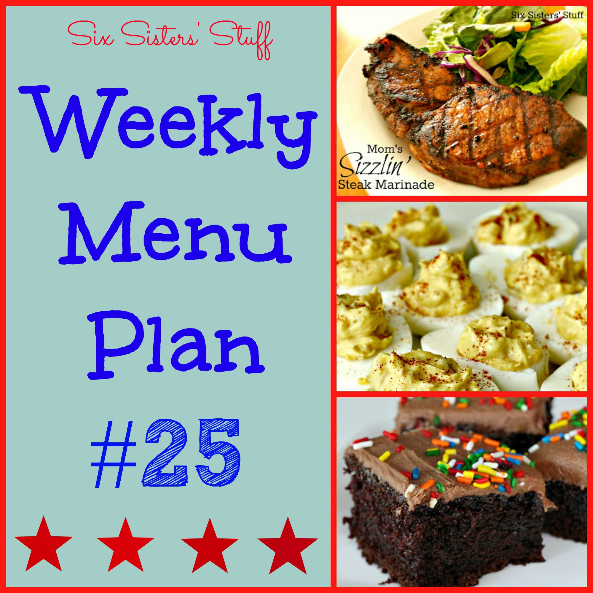 Six Sisters' Weekly Menu Plan #25