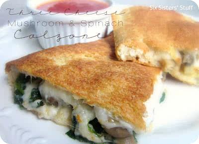 Three Cheese Mushroom and Spinach Calzone Recipe