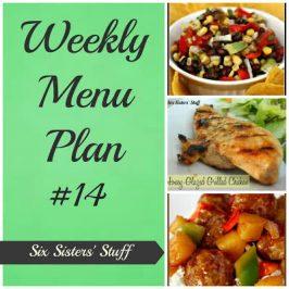 Six Sisters' Weekly Menu Plan #14