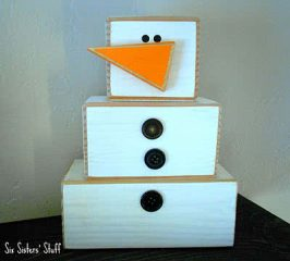 "Wooden 4×4"" Snowman Craft Tutorial"