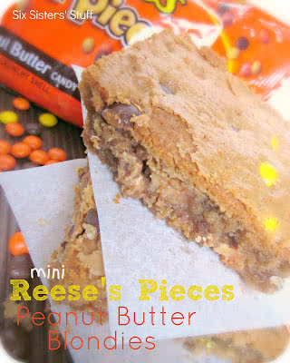Mini Reese's Pieces Peanut Butter Blondies Recipe