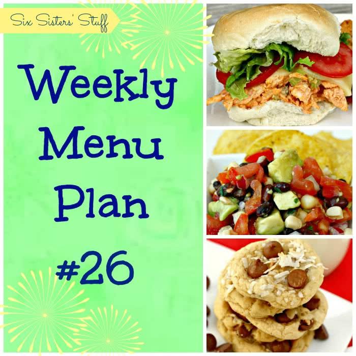 Six Sisters' Weekly Menu Plan #26