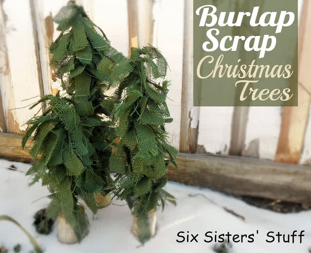 Burlap Scrap Christmas Trees Tutorial