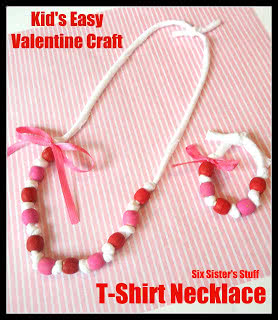 Easy Valentine Craft for Kids: T-shirt Necklace
