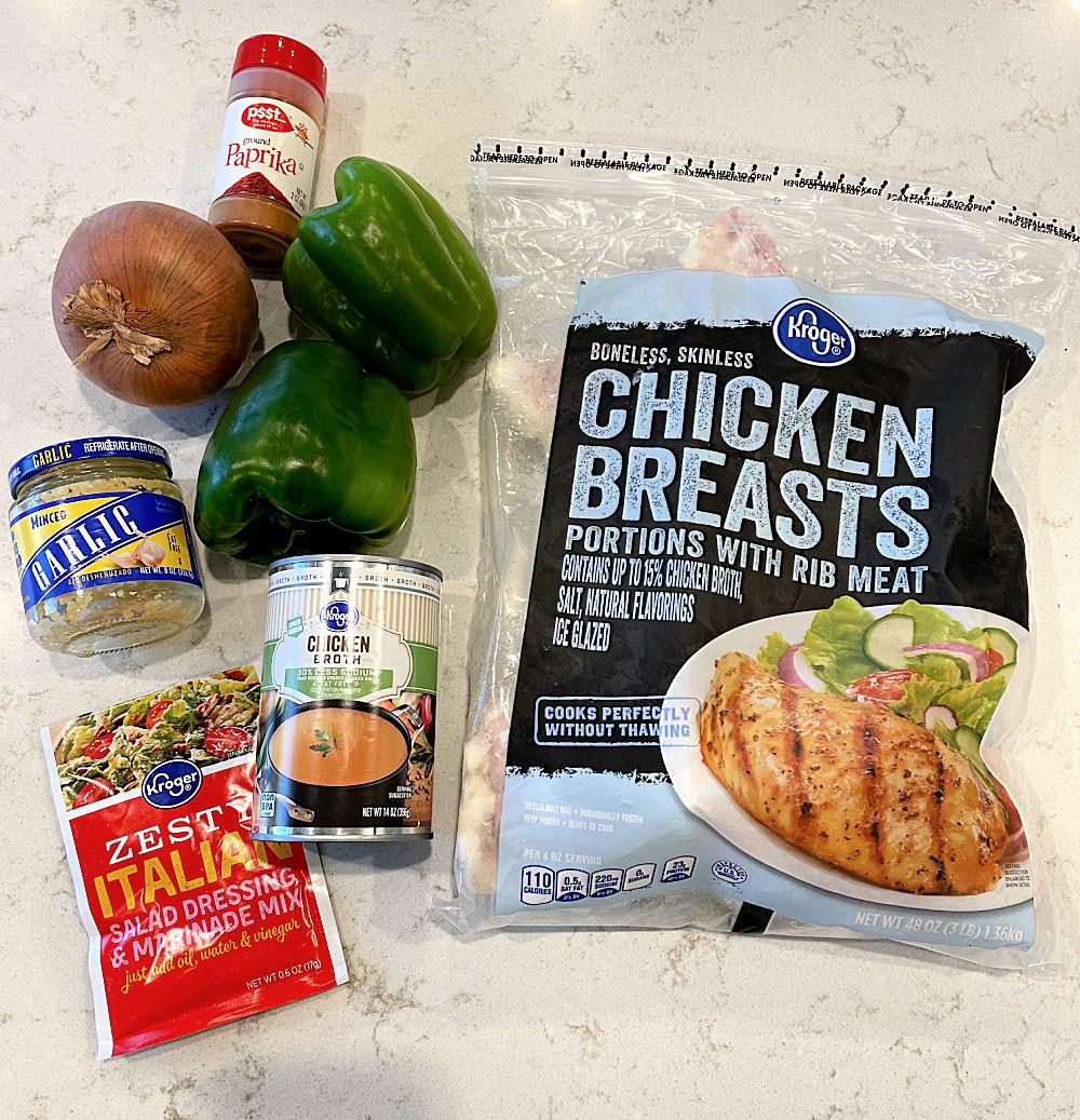 Ingredients for Slow Cooker Chicken Philly Cheesesteak Sandwich Recipe