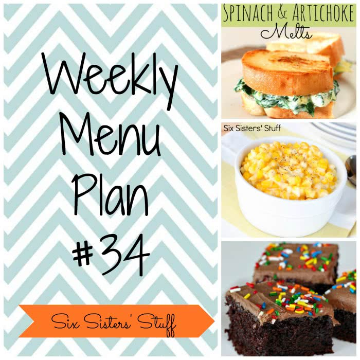 Six Sisters' Weekly Menu Plan #34