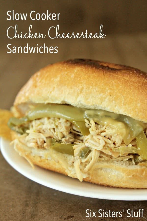 Slow Cooker Chicken Philly Sandwiches on SixSistersStuff