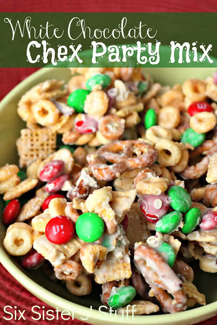 this white chocolate chex party mix is the perfect dessert or snack food to feed a crowd it makes a lot and it is most definitely a crowd favorite - Christmas Chex Mix White Chocolate