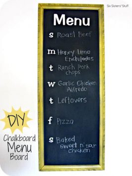 DIY Chalkboard Menu Board Planner Tutorial