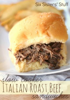 Slow Cooker Italian Roast Beef Sandwiches