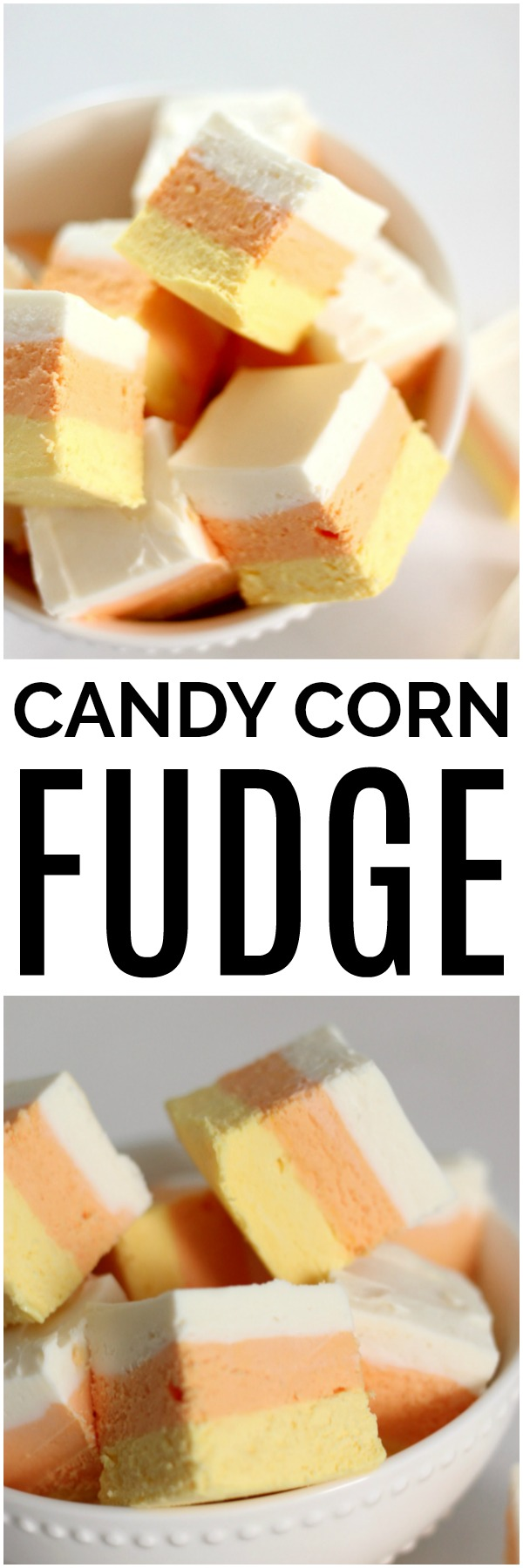 Finished Product Easy Candy Corn Fudge Recipe
