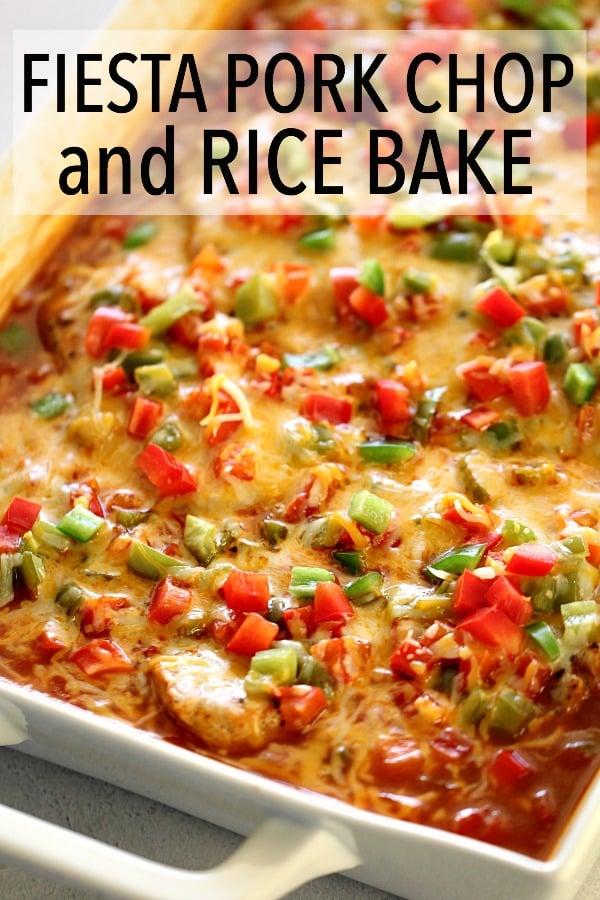 Fiesta Pork Chop and Rice Bake in a white casserole dish
